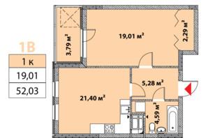 ЖК Нивки-Парк: планировка 1-комнатной квартиры 52.03 м²