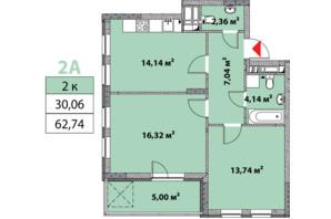 ЖК Нивки-Парк: планировка 2-комнатной квартиры 62.74 м²