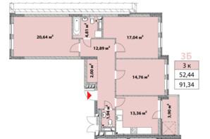 ЖК Нивки-Парк: планировка 3-комнатной квартиры 91.34 м²