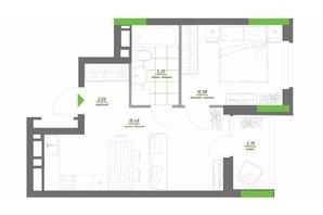 ЖК Нивки-Парк: планировка 1-комнатной квартиры 41.07 м²