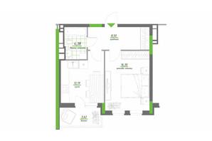 ЖК Нивки-Парк: планировка 1-комнатной квартиры 44.99 м²