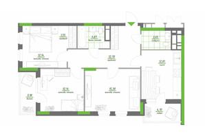 ЖК Нивки-Парк: планировка 3-комнатной квартиры 82.18 м²