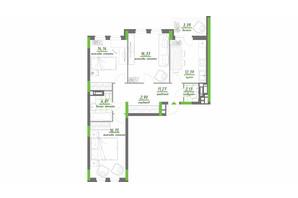 ЖК Нивки-Парк: планировка 3-комнатной квартиры 84.11 м²