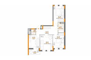 ЖК Нивки-Парк: планировка 3-комнатной квартиры 83.73 м²