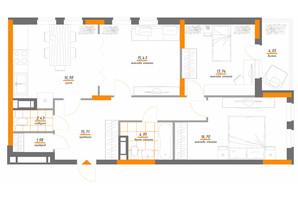 ЖК Нивки-Парк: планировка 3-комнатной квартиры 91.93 м²