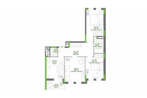 ЖК Нивки-Парк: планировка 3-комнатной квартиры 83.39 м²