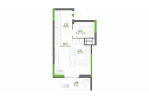 ЖК Нивки-Парк: планировка 1-комнатной квартиры 33.2 м²