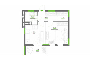 ЖК Нивки-Парк: планировка 1-комнатной квартиры 40.62 м²