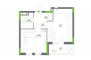 ЖК Нивки-Парк: планировка 1-комнатной квартиры 47.84 м²
