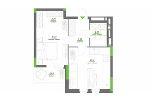 ЖК Нивки-Парк: планировка 1-комнатной квартиры 49.56 м²