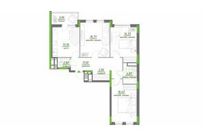 ЖК Нивки-Парк: планировка 3-комнатной квартиры 85.13 м²
