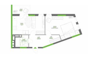 ЖК Нивки-Парк: планування 1-кімнатної квартири 57.6 м²