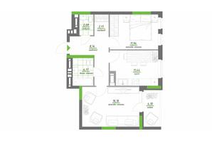 ЖК Нивки-Парк: планування 2-кімнатної квартири 60.71 м²