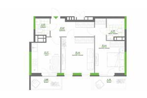 ЖК Нивки-Парк: планування 2-кімнатної квартири 67.53 м²