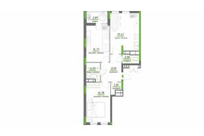 ЖК Нивки-Парк: планування 2-кімнатної квартири 71.31 м²