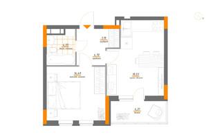 ЖК Нивки-Парк: планування 1-кімнатної квартири 47.05 м²