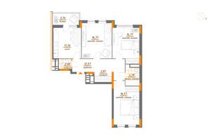 ЖК Нивки-Парк: планування 3-кімнатної квартири 85.68 м²