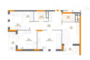 ЖК Нивки-Парк: планування 3-кімнатної квартири 82.21 м²
