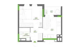 ЖК Нивки-Парк: планування 1-кімнатної квартири 41.7 м²