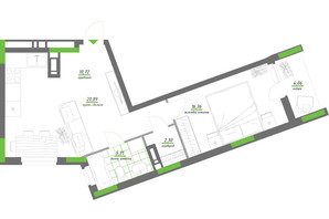 ЖК Нивки-Парк: планування 1-кімнатної квартири 59.64 м²