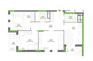 ЖК Нивки-Парк: планування 3-кімнатної квартири 82.18 м²
