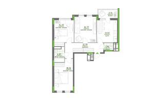 ЖК Нивки-Парк: планування 3-кімнатної квартири 86.57 м²