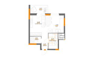 ЖК Нивки-Парк: планування 1-кімнатної квартири 36.57 м²