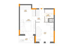 ЖК Нивки-Парк: планування 1-кімнатної квартири 52.03 м²