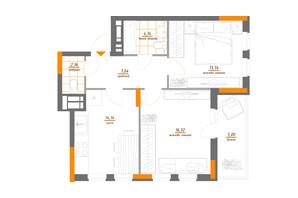 ЖК Нивки-Парк: планування 2-кімнатної квартири 62.74 м²