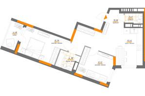 ЖК Нивки-Парк: планування 2-кімнатної квартири 70.14 м²