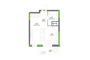 ЖК Нивки-Парк: планування 1-кімнатної квартири 34.8 м²