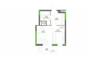 ЖК Нивки-Парк: планування 1-кімнатної квартири 33.32 м²