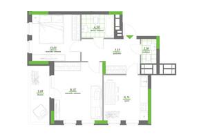 ЖК Нивки-Парк: планування 2-кімнатної квартири 62.72 м²