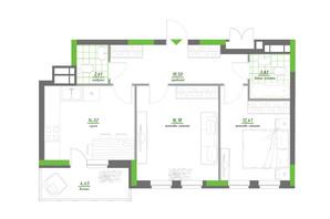 ЖК Нивки-Парк: планування 2-кімнатної квартири 64 м²