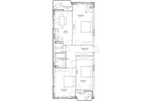 ЖК O2 Residence: планировка 3-комнатной квартиры 91.34 м²