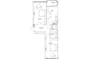 ЖК O2 Residence: планировка 2-комнатной квартиры 73.75 м²
