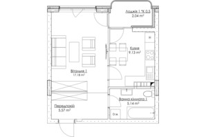 ЖК O2 Residence: планировка 1-комнатной квартиры 39.06 м²