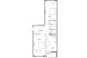 ЖК O2 Residence: планировка 2-комнатной квартиры 74.3 м²