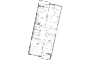 ЖК O2 Residence: планировка 3-комнатной квартиры 91.47 м²