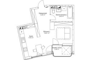 ЖК O2 Residence: планування 1-кімнатної квартири 42.44 м²