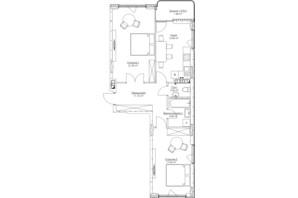 ЖК O2 Residence: планування 2-кімнатної квартири 70.65 м²