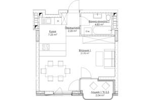 ЖК O2 Residence: планування 1-кімнатної квартири 38.27 м²