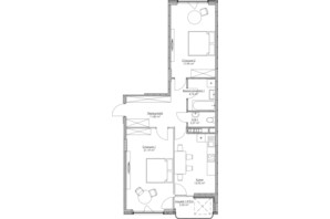 ЖК O2 Residence: планування 2-кімнатної квартири 74.3 м²