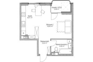 ЖК O2 Residence: планування 1-кімнатної квартири 37.55 м²