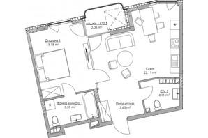 ЖК O2 Residence: планування 1-кімнатної квартири 54.72 м²