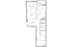 ЖК O2 Residence: планування 2-кімнатної квартири 73.88 м²