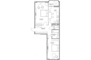 ЖК O2 Residence: планування 2-кімнатної квартири 72.32 м²
