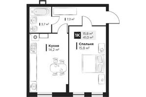 ЖК OBRIY 2: планировка 1-комнатной квартиры 41 м²