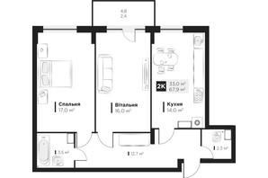 ЖК OBRIY 2: планировка 2-комнатной квартиры 67.9 м²