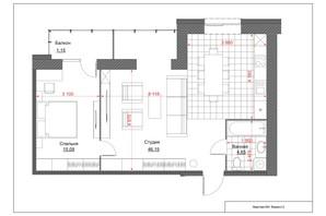 ЖК Oasis: планировка 2-комнатной квартиры 68 м²